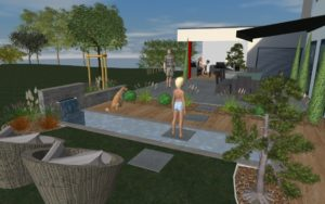 Heiby 3D plan Wissembourg Haguenau Soultz sous forets - aménagements extérieurs pavage enrobé plantation paysagiste terrasse alsace store bois fontaine jardin paysage